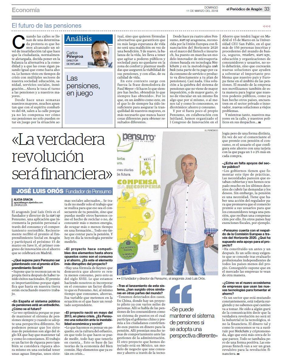 José Luis Orós, CEO de Pensumo, entrevistado en El Periódico de Aragón: «La verdadera revolución será financiera»