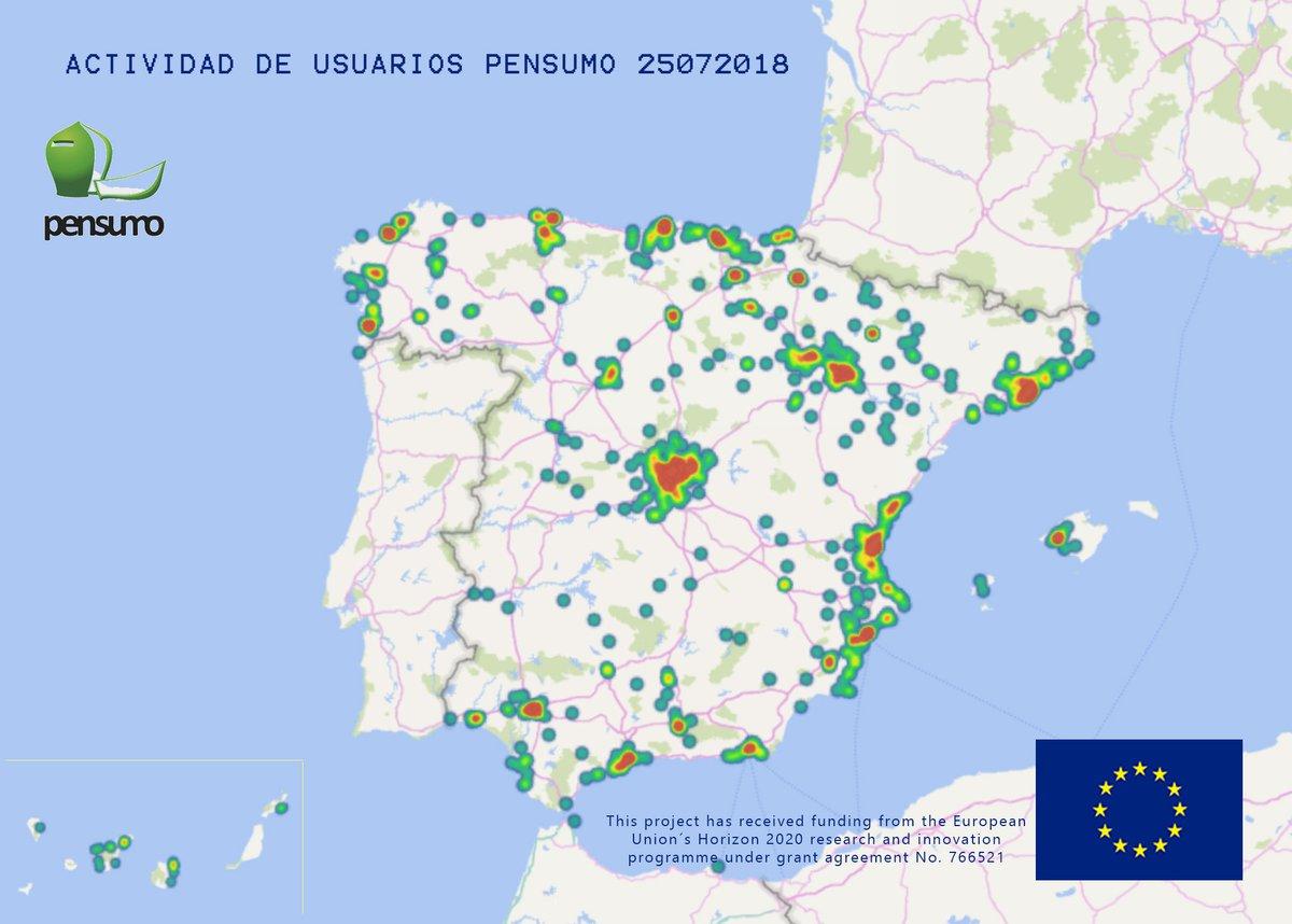 Mapa de Calor de Pensumo en España: ¿Dónde se concentran las personas a las que les gustaría complementar sus #pensiones con la compra diaria u otras actividades de forma gratuita?