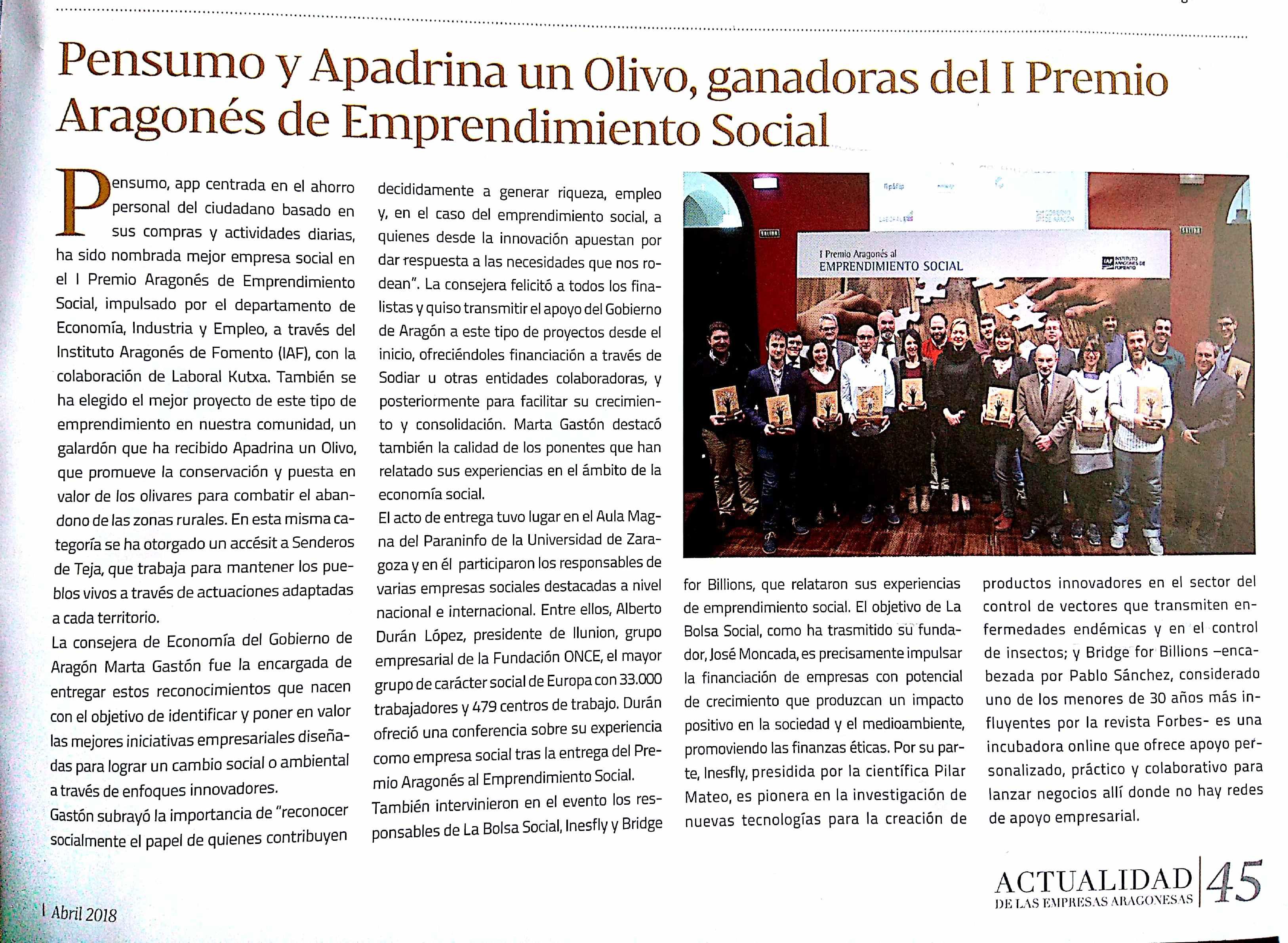 """El Premio al Emprendimiento Social a Pensumo, en la revista """"Actualidad de las Empresas Aragonesas"""""""