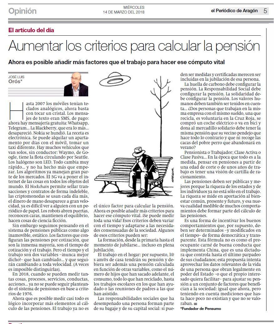 """Artículo de José Luis Orós en El Periódico de Aragón: """"Aumentar los criterios para calcular la pensión"""""""