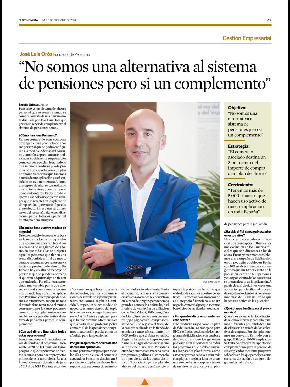 """José Luis Orós, CEO de Pensumo, entrevistado en 'El Economista': """"No somos una alternativa al sistema de pensiones pero si un complemento"""""""